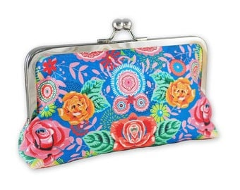 Blue Floral Clutch Kisslock Purse 8 Inch Frame Painted Flowers Roses Leaves Evening Bag Bridesmaid Mirror Image Pink Flora Green Yellow