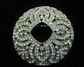 Vintage Large Round Pave Set Rhinestone Art Deco Bridal Pin-- HOld for Britteny ONLY