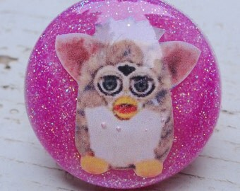 Pink Glitter Furby Resin Ring, Vintage 90's Toys Resin Ring, Unique Resin Statement Ring, Hot Pink Glitter Resin Bubble Ring, Cool/Cute Ring