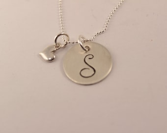 Initial Necklace with small heart charm - Hand stamped - Sterling Silver
