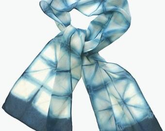Indigo shibori silk chiffon scarf