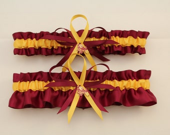 Wedding Garter Set with Arizona State University Colors, Bridal Garter Set