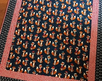 Sailor Fox Baby Crib Quilt -- Andie Hanna Fabulous Foxes-- navy, red, white