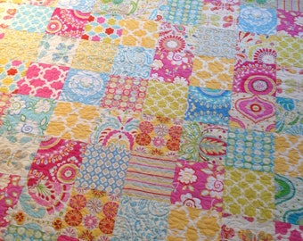 Quilt Baby Girl Toddler Lap-- Kumari Garden fabrics, pink, yellow, blue, butterflies, flowers