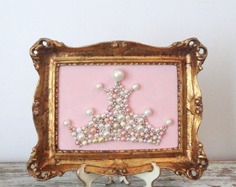 Pink and Gold Nursery Art - Princess Crown - Mosaic Wall Art - Pastel pink - Ornate Gold frame - Girls room - Glitter picture - 3d Picture