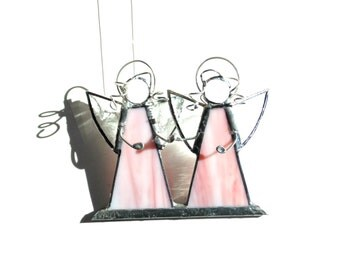 Stained glass twin angel girls in pink, glass suncatcher sympathy gift, two angels with wings and halos, bereavement condolence gift