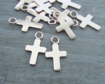 Sterling Silver Small Tiny Cross, 10x6mm, 10 pcs,PC-0097