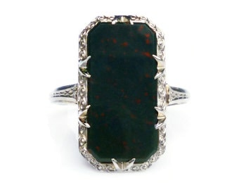 Art Deco 14K White Gold Bloodstone Ring - Octagon Stone, Promise Engagement, Antique Jewelry, Womans US Size 6.5