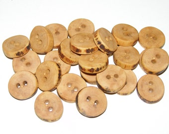 "25 Handmade  apple wood buttons, accessories (0,83"" diameter x 0,16"" thick)"