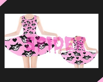 Love Bats Pink with Black Hearts and Bats Skater Dress  Stretchy Creepy Cute