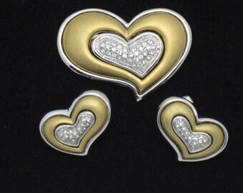 Vintage Jewelry Set Gold Silver Plated Heart Shaped Brooch Earrings Set