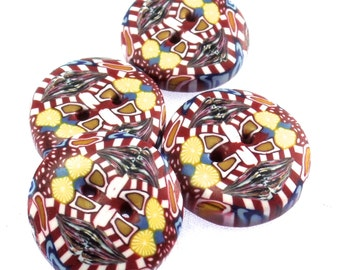 4 Colorful Handmade Polymer Clay Buttons 3/4 inch