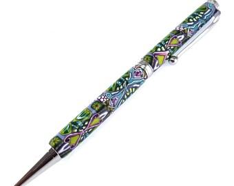 Fancy Chrome Polymer Clay Twist Pen, Colorful, Unique Design