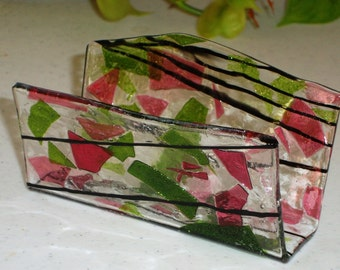 Fused Glass Business Card Holder -  Pinks and Greens 11171