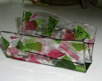 Fused Glass Business Card Holder -  Pinks and Greens 11172