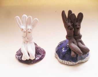 Two Rabbits on a Tuffet - color variations, Purple, Blue