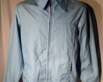 Mens Vintage 70s Sears?  Weathercaster Brand Blue Scovill zipper fly Usa made Work Jacket sz M with Two pockets