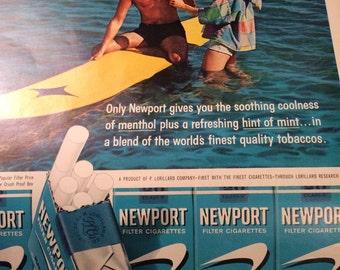 Neport cigarette ad circa 1961. 10 1/2 x 14 approx. smoke free.