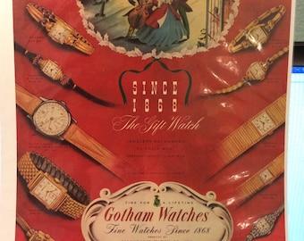 Circa 1948 Gotham watches ad. Ollendorff Co. New York 13 x10.