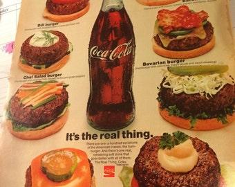 Rare Coca Cola ad circa 1971 burgers! 10 1/2 x 13 1/2 approx.