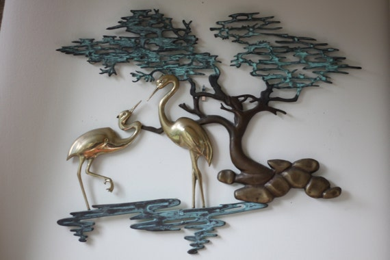 Oriental Metal Wall Decor : Vintage mid century modern metal wall art brass asian