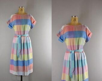 vintage 80s dress / 1980s summer dress / Summer Sherbet dress