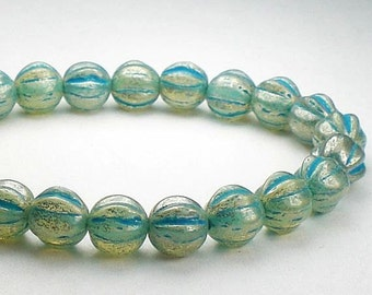 Mercury Fluted Melon Bead Aqua Picasso Czech Glass 6mm Melon Round Beads 25 pcs. M-1181