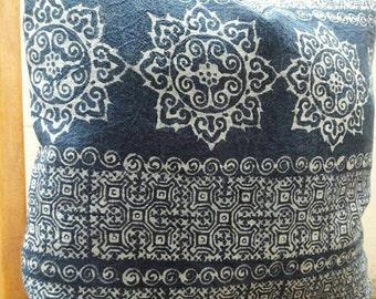Floral Indigo Batik Cotton Pillow Cover