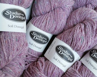 SIX Skeins Pastel Pink Studio Donegal Irish Tweed 100 % Merino