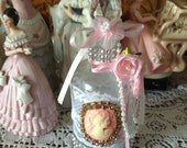 Shabby chic 8 inch altered bottle with pink cameo