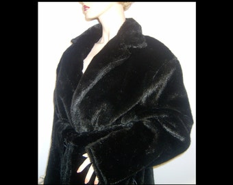 Jet black faux fur wrap coat ~ Medium 8 10 ~ rare soft thick warm plush bombshell winter stroller trenchcoat ~ belted ranch mink
