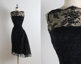 vintage 50s dress | vintage 1950s dress | black floral lace party dress m/l | 5788