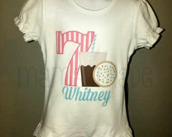 Milk and Cookies Birthday Shirt or Bodysuit Cookies and Milk Birthday Number Shirt Size 6 mo12 mo 18 mo 24 mo 2t 3t 4t 5 6 8 10 12