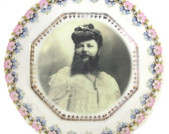 Madame Delait, The Bearded Lady of Plombieres - Altered Antique Plate 6.25""