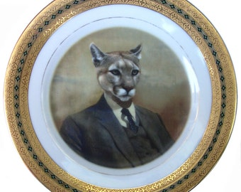 Colin the Cougar portrait Plate - Altered Vintage Plate 6.5""