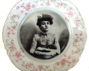 """The Tattooed Lady - Altered Vintage Plate 10"""""""