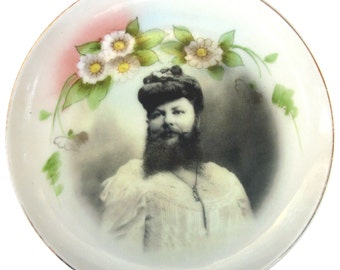 Madame Delait, The Bearded Lady of Plombieres - Altered Antique Plate 6.5""