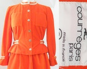 Deadstock 1970s Courreges Suit, Iconic Orange Space Age Jacket and Skirt with White Stripes, Rare Original Tag Vintage Courreges