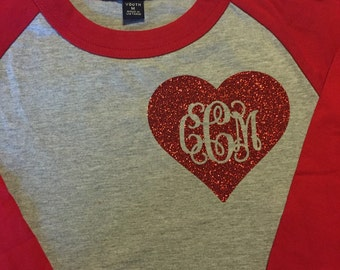 Monogrammed heart Valentine Raglan shirt Youth Girls