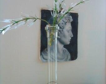 Tall elegant vintage glass column pedestal vase