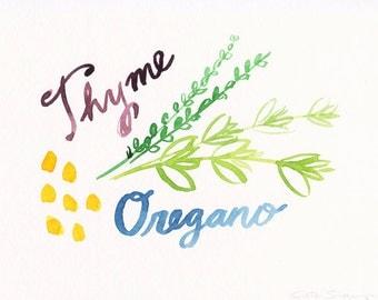 Herb Series - Original Watercolor - Thyme & Oregano