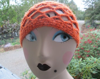 Burnt Orange Cloche by SuzannesStitches, Toddler Cloche Hat, Childrens Orange Hat, 6-12 Month Hats, Toddlers Orange Hat, Fall Hat, Halloween