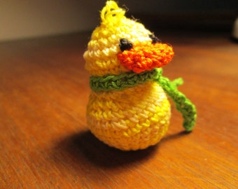 Oregon Duck by SuzannesStitiches, U of O Duck, Crocheted Duck, Amigurimi Duck, Yellow and Green Duck, Handmade, Little Yellow Duck, Duck