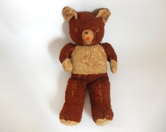Antique Brown Teddy Bear with Squeaky Snout
