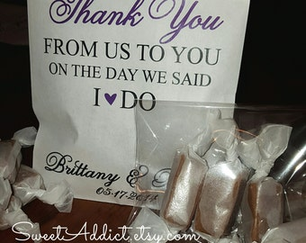 EDIBLE WEDDING FAVORS - Sweet Thank You - Personalized, Pre-assembled Favors Guests Will Love with Caramels Featured by the Food Network