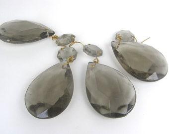 Vintage Chandelier Crystals, Gray Chandelier Crystals, Tear Drop Crystals, Chandelier Prisms,