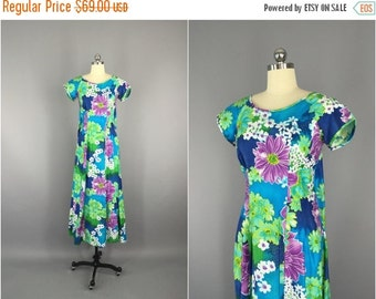 SALE 50% OFF - Vintage 1960s Dress / Paradise Hawaii / 1960 Blue Floral / 60s Hawaiian Maxi Dress / Mad Men Mid-Century
