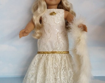 18 inch doll clothes - #220 Ivory Lace Gown made to fit the American girl doll - FREE SHIPPING