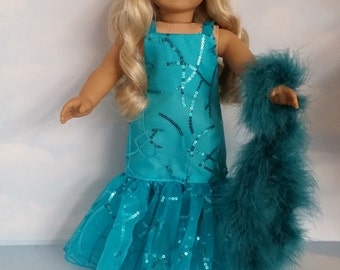 Last One! - 18 inch doll clothes - #227 Teal Dropwaist Gown and Boa made to fit the American Girl Doll - FREE SHIPPING