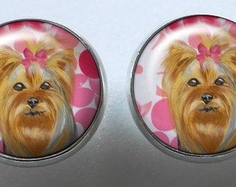 Yorkshire Terrier Earrings ~ Gifts for Her ~ Birthday Present ~ Miniature Dog Portrait ~ Pet Keepsake ~ Yorkie Lover